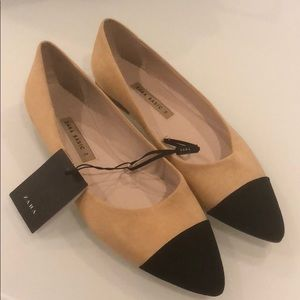 Zara Two Tone Black and Nude Pointy Flats